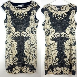 Maggy London Lace Print Sheath Dress Black & Tan